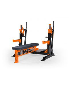 elitefts™ Signature Competition Olympic Bench with Safeties, Foot Lever, and Logo Panels