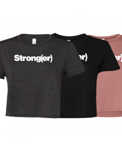 elitefts Strong(er) White Women's Flowy Cropped Tee