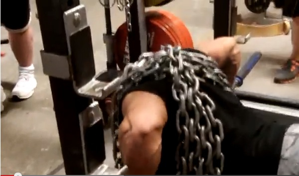 """Barbell Chain Push-Ups (Strip Set + """"Up the Rack Sets)"""