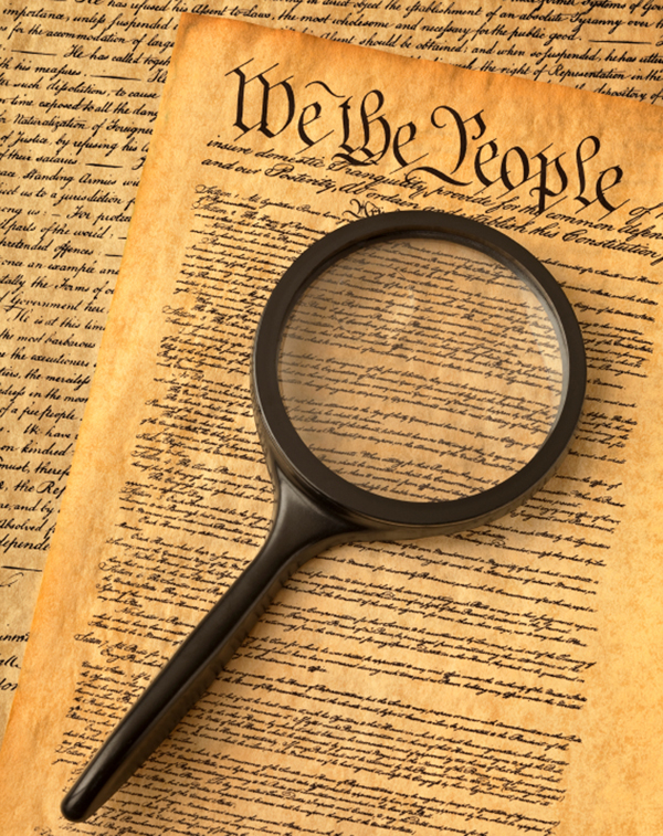 Magnifying Glass on Preamble to the Constitution of USA