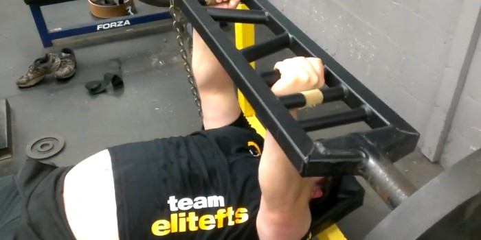 WATCH: Swiss Press Bar Triceps Extension w/ Chains