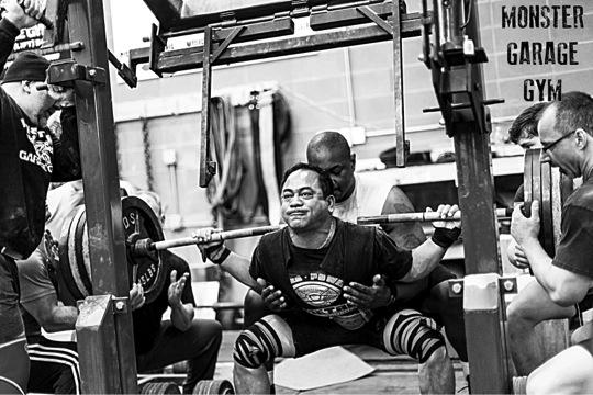 Silverback bench press deadlift challenge at monster garage