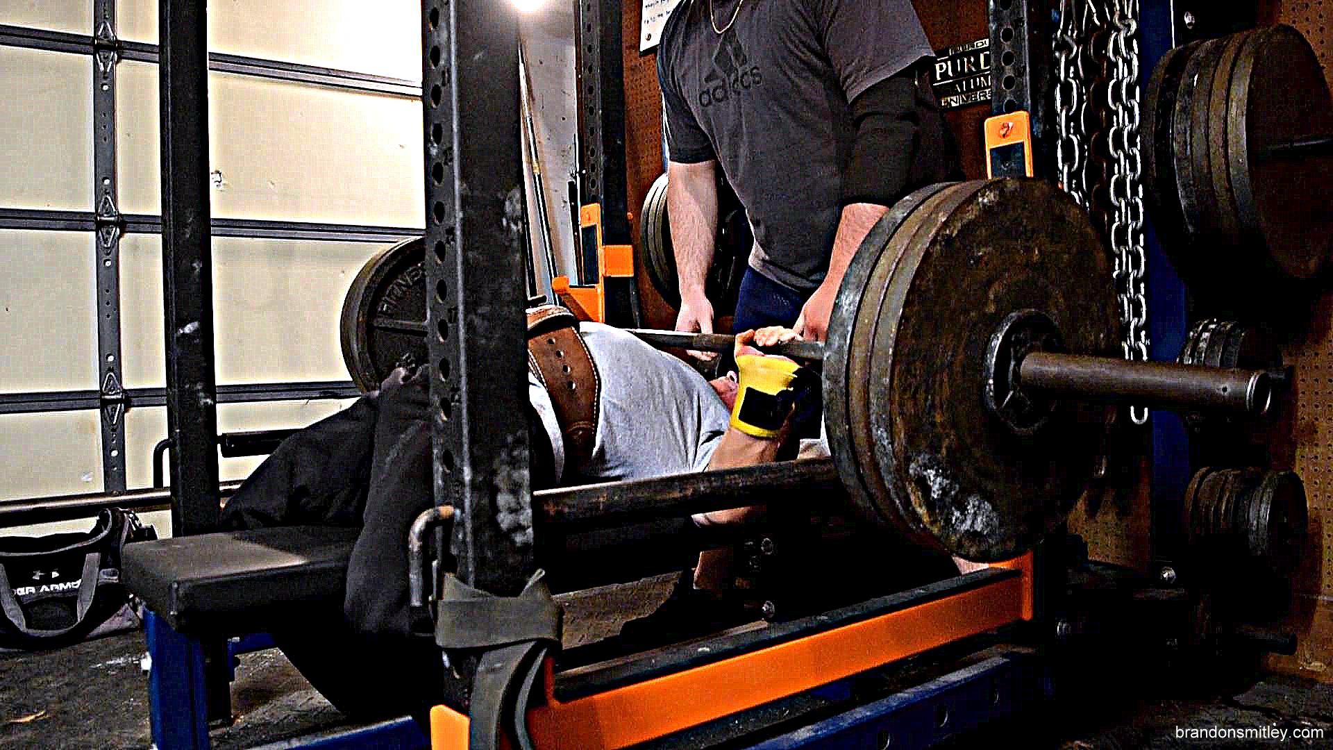 me upper: bench press up to possible 2nd attempt, and 2 board work