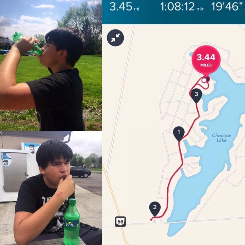 3-mile run at lake