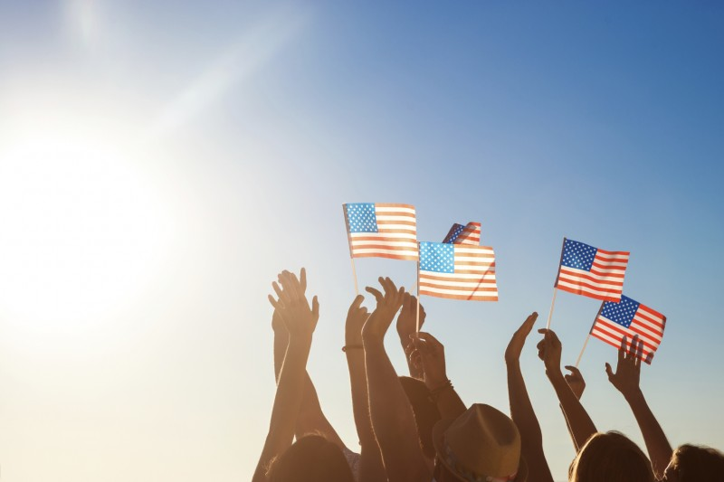 American flags. Patriots of America.