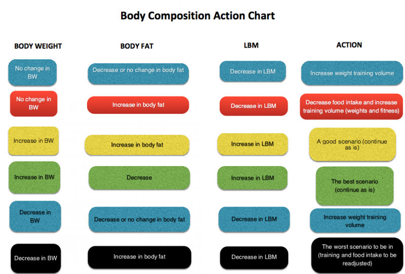 body composition action chart