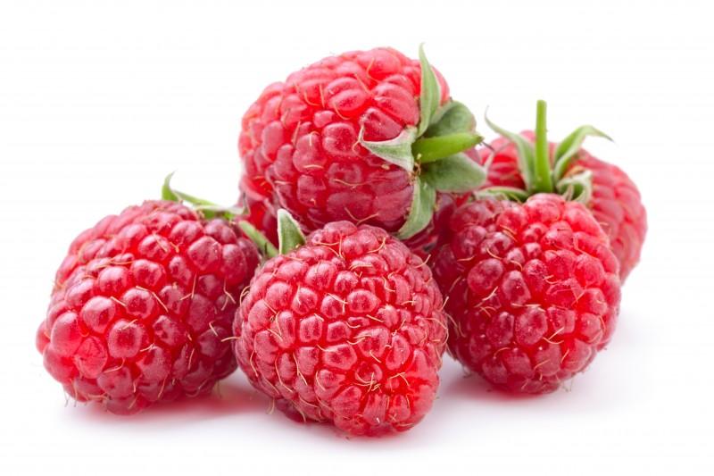 Five Fresh raspberries in white background