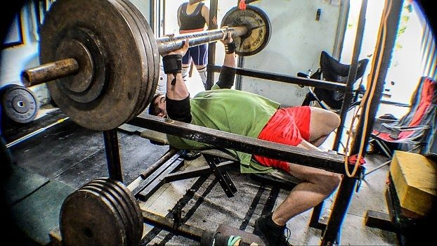 benching with a fat bar