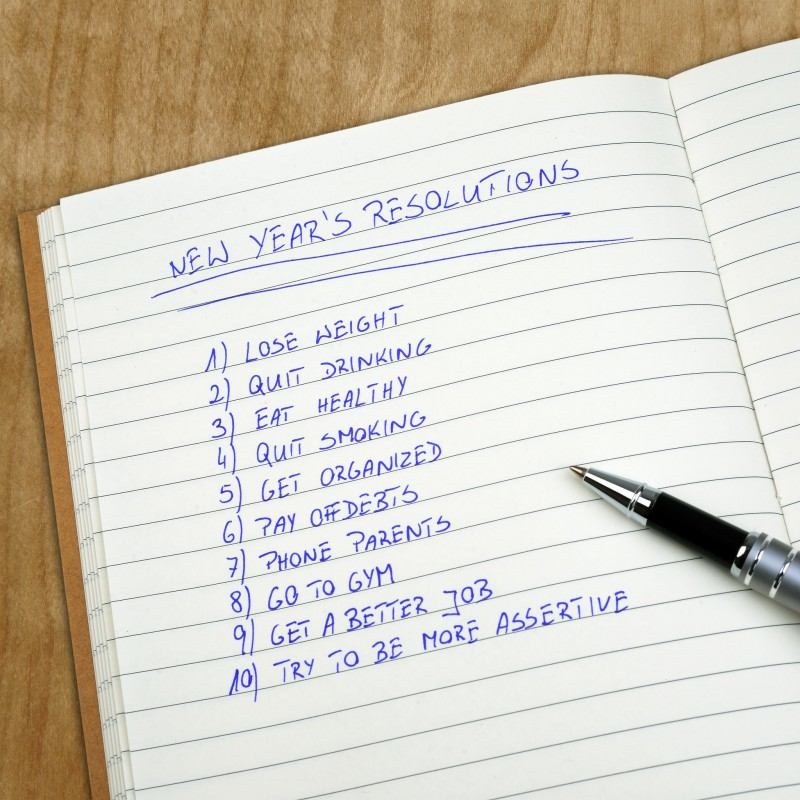 24172355 - new year's resolutions listed in the notepad