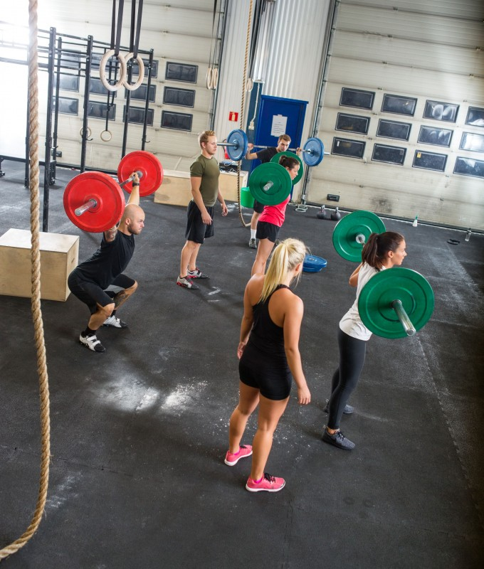 33836062 - trainers and athletes in weightlifting class