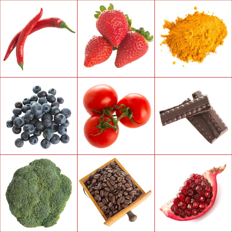 18845190 - variety of healthy antioxidants on a white background