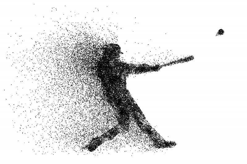 silhouette of a baseball player from particle.