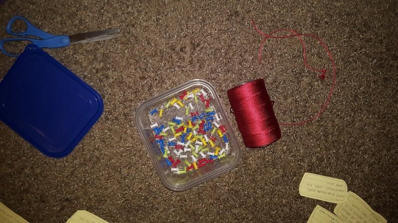thread and thumbtacks