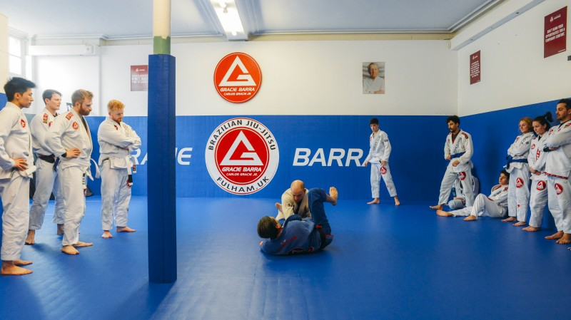 Brazilian Jiu Jitsu mixed martial arts grappling training at Fulham Gracie Barra academy in London, UK