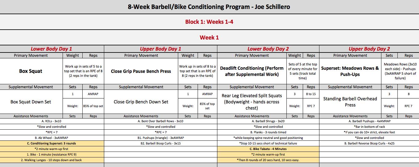 barbell bike week 1