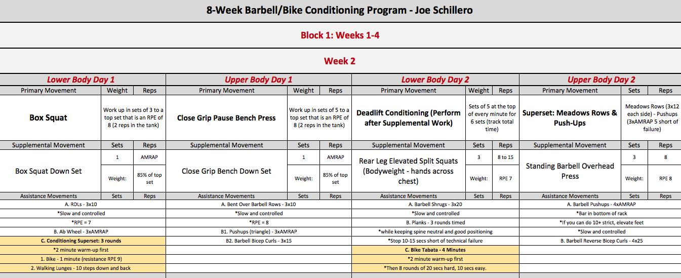 barbell bike week 2