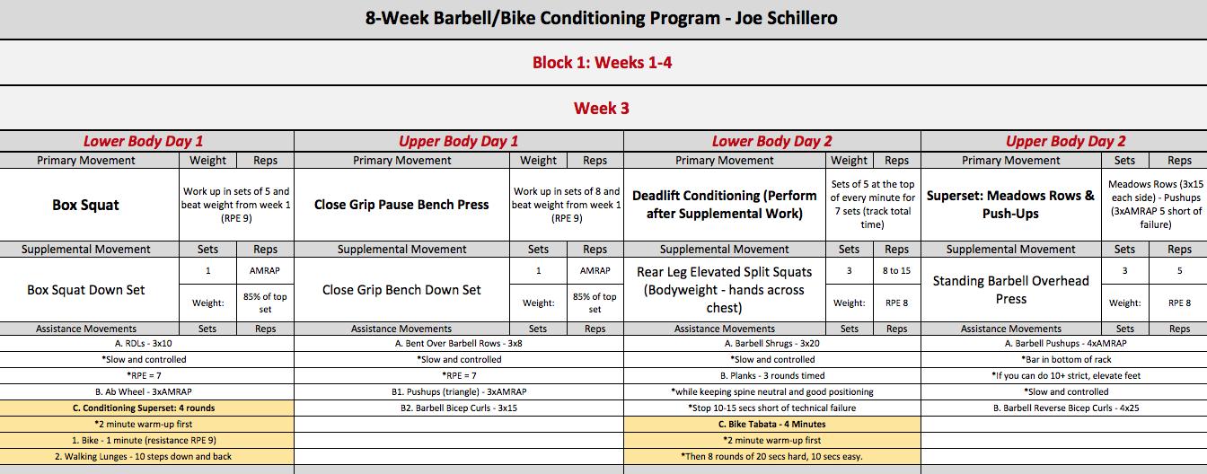 barbell bike week 3