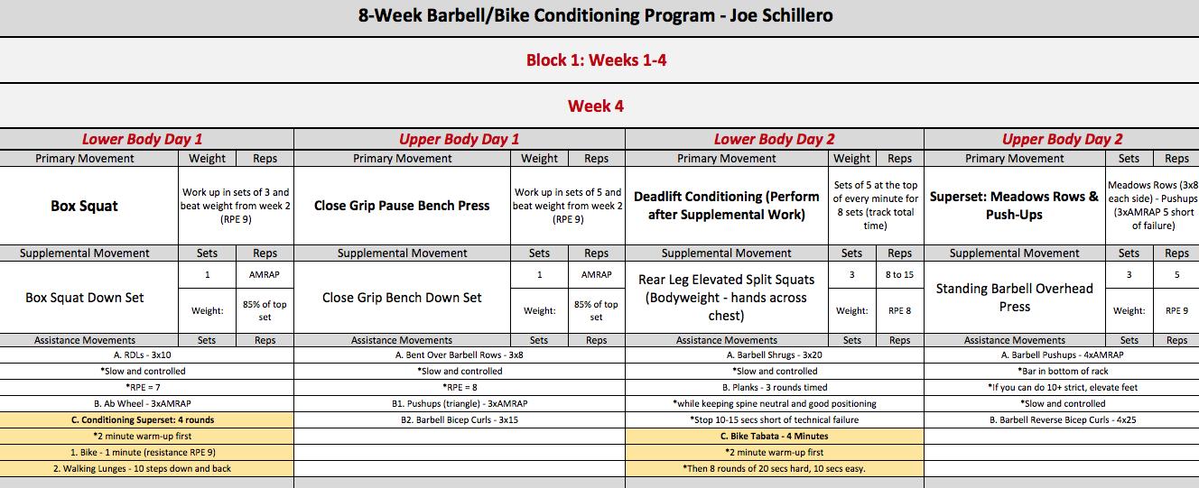 barbell bike week 4