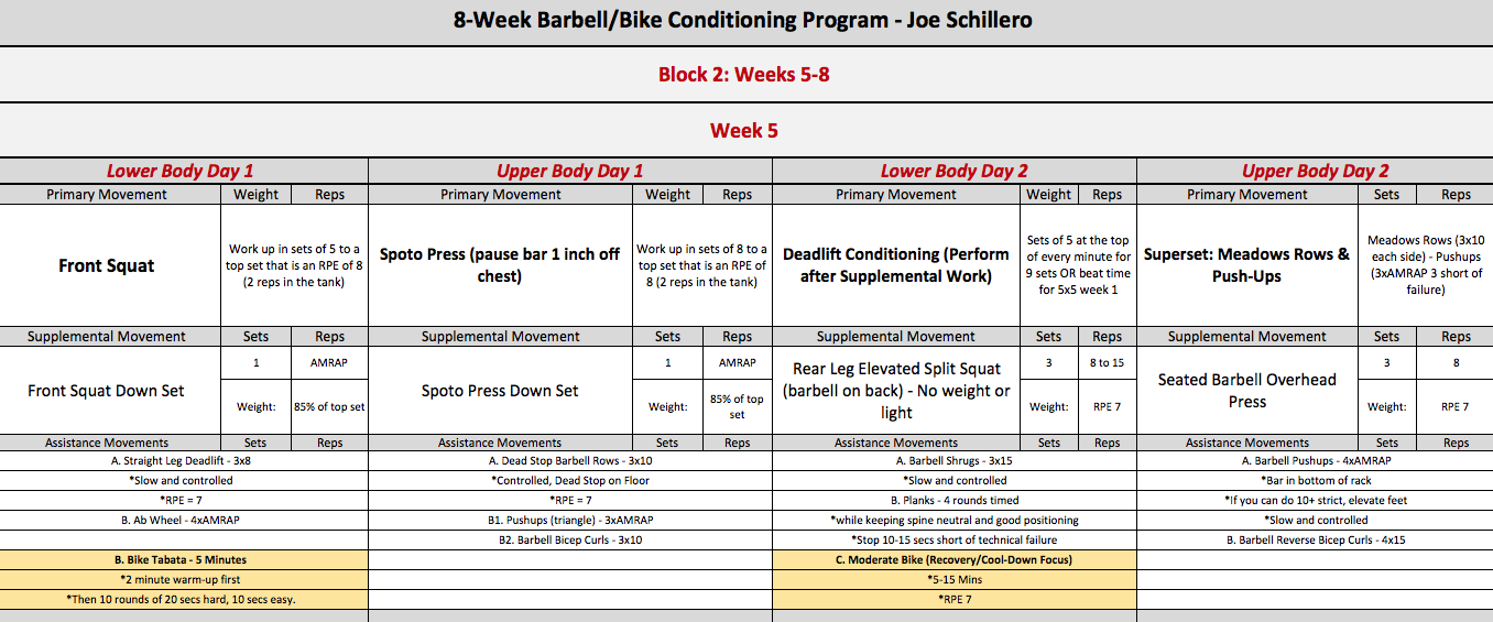 barbell bike week 5