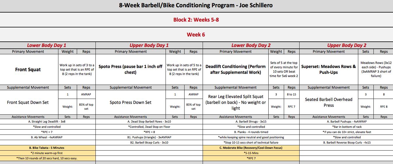 barbell bike week 6