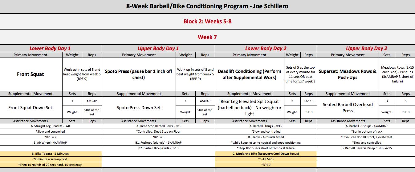 barbell bike week 7