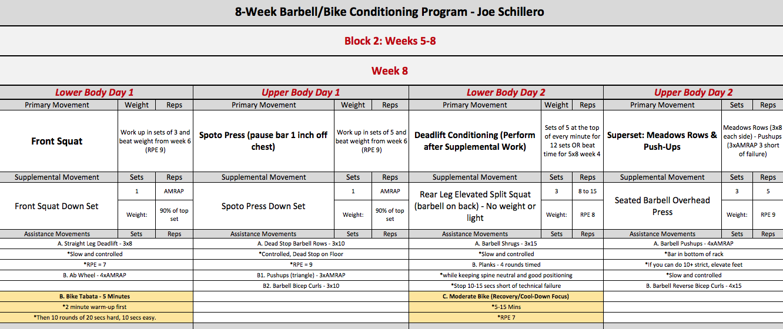 barbell bike week 8