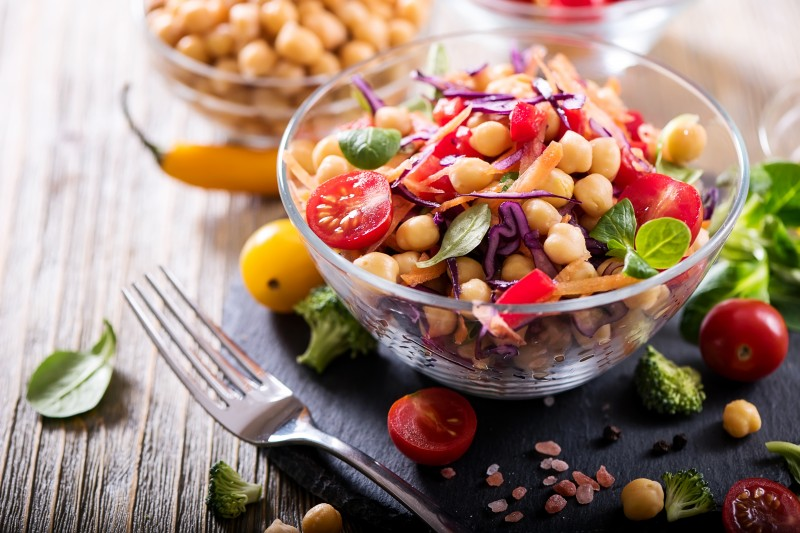 Healthy homemade chickpea and veggies salad, diet, vegetarian, v
