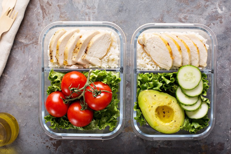 Healthy meal prep containers with chicken and rice