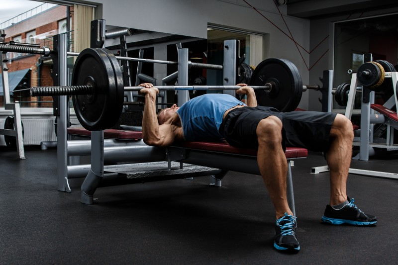 Man during bench press exercise