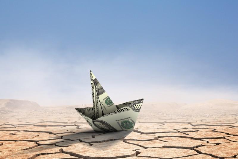 Concept of financial crisis. Mixed media